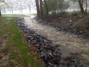 Rock lined channel during 6-inch rainfall