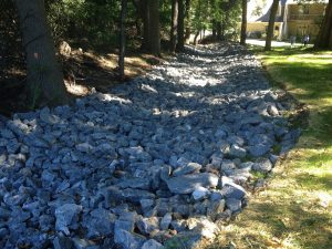 Rock lined channel on golf course post construction.